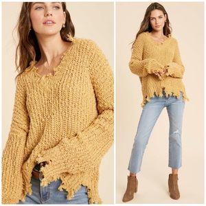Mustard Distressed Hem Popcorn Knit Sweater